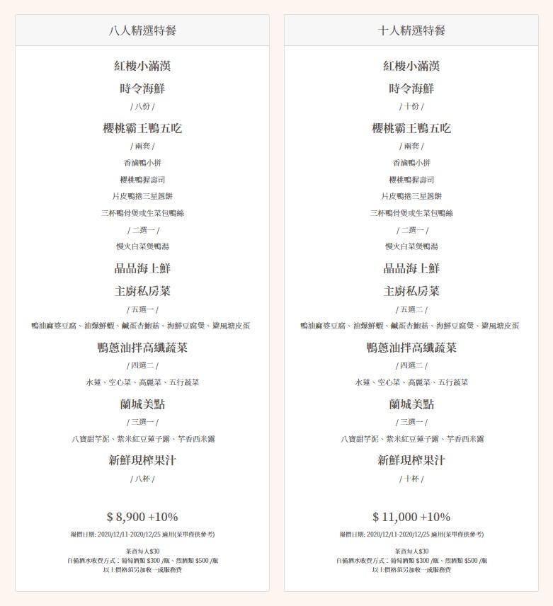 蘭城晶英 紅樓中餐廳假日菜單01