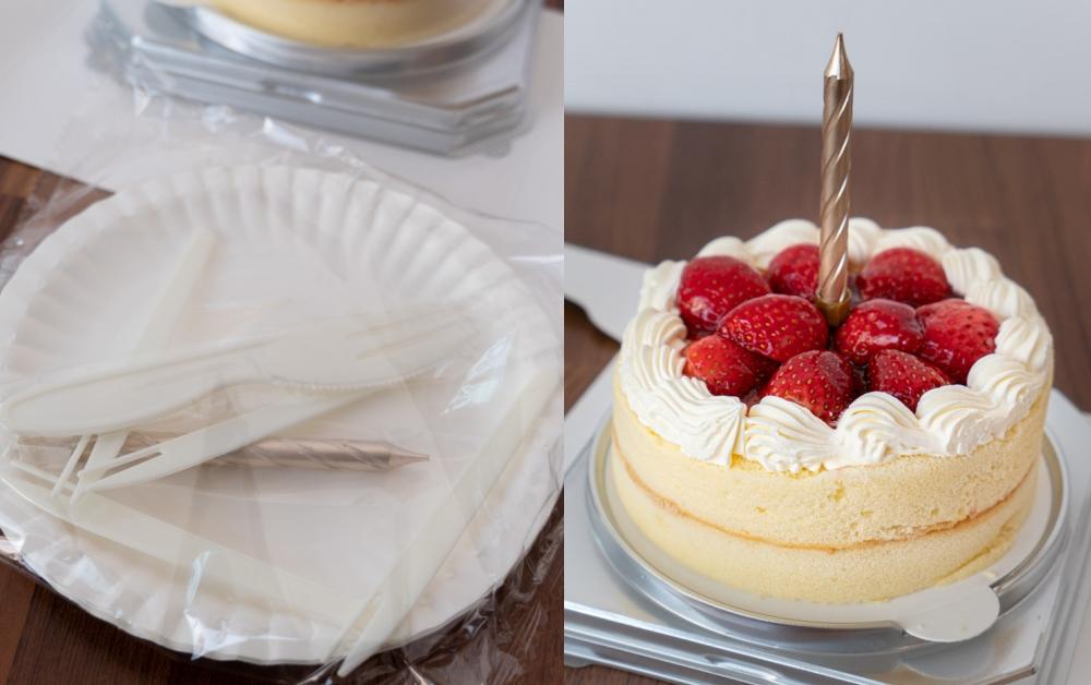 全聯草莓蛋糕 附蠟燭刀叉